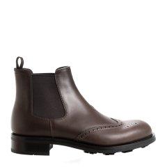PRADA/普拉达 牛皮 布洛克 套脚 黑/棕色男士短靴图片