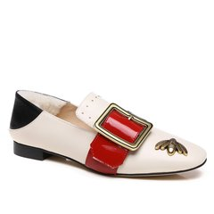 AUSNOW/AUSNOW  平跟鞋 春夏新款 羊反绒 复古红唇方扣两穿乐福鞋图片