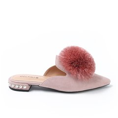 OZLANA UGG/OZLANA UGG  平跟凉鞋 春夏新款 尖头花球/蝴蝶结饰扣两穿穆勒鞋图片