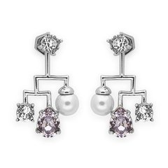 【DesignerJewelry】【O.YANG/O.YANG】耳钉采用施华洛世奇元素水晶珍珠女短款个性时尚气质耳坠图片