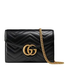【包税】GUCCI/古驰 GG Marmont系列 女士牛皮双G标识时尚链条单肩斜挎包图片