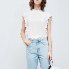 MO&Co./摩安珂女士短袖衬衫2018夏季新品荷叶边钉珠无袖露背上衣图片