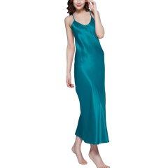 【DesignerWomenwear】LILYSILK/莉莉秀客女睡衣/家居服22姆米真丝睡裙百分百桑蚕丝女士长款圆领丝绸睡衣图片