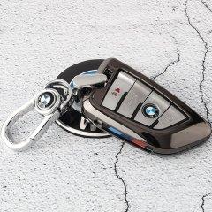 pinganzhe  2018款宝马530钥匙套5系525/528li新X1X5X6五系刀锋车钥匙包扣壳钥匙扣 保护套 送三个不同款式钥匙扣图片