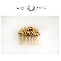 Avigail Adam美国纽约手工制造艺术风格首饰品牌女式Amber系列琥珀花插梳Amber Flower Hair Comb图片