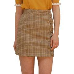 [18春夏新款]YUPPE 格子型黄色短裙图片