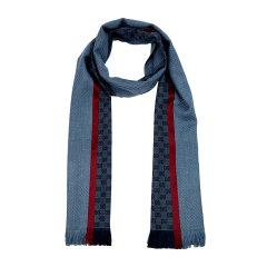 GUCCI/古驰男士多色双Glogo围巾162226 蓝色图片