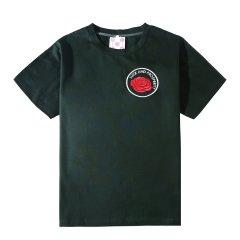 【DesignerWomenwear】5min/5min原创潮牌麻雀学院福禄玫瑰刺绣男女同款女士短袖T恤墨绿色/粉色图片