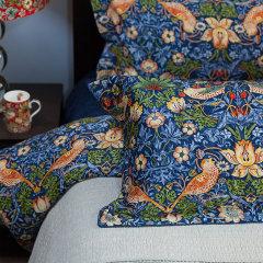 Morris&Co. 英国复古花纹鼻祖,LOEWE合作花纹-草莓小偷四件套(蓝/红) 深红色 1.8m床图片