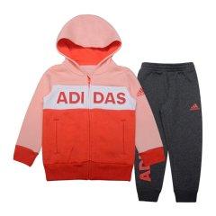 adidas/阿迪达斯童装2018冬季新款男女小童连帽休闲儿童运动服针织套装 服装 DX5053 DX5054图片