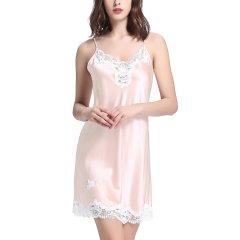 【DesignerWomenwear】LILYSILK/莉莉秀客女睡衣/家居服]甜美风格真丝睡裙蕾丝性感吊带桑蚕丝睡衣丝绸家居服图片