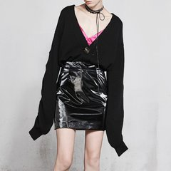 MO&Co./摩安珂女士针织衫/毛衣2018春季新品V领长袖皱褶扭花修身针织毛织开衫MA181CAR302图片
