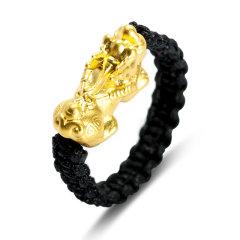 Magifas/Magifas 貔貅戒指  3D硬金足金 本命年手工编织转运珠戒指 情侣款 0.3g-0.33g图片