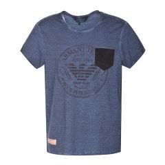 Armani Jeans/阿玛尼牛仔 男士短袖全棉T恤 灰蓝色 A6H18NS-R5图片