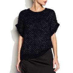 Theonne/Theonne 宝蓝色短袖圆领银线羊毛混纺绒毛女针织衫图片