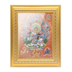 goldentara/金色度母瓷艺唐卡财宝天王装饰挂画36cm*29cm图片