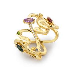 Diamantipertutti/Diamantipertutti戒指,925银镀铑、镀18k金玫瑰金、镀18k黄金,镶嵌蓝宝石、沙弗莱石、托帕石、紫晶、石榴石和0.028克拉钻石图片