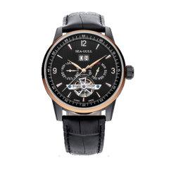 SEA-GULL/海鸥表 飞轮系列三历显示多功能镂空自动机械男表皮带手表图片