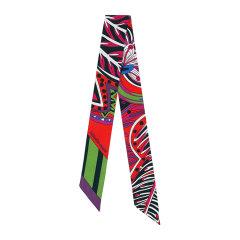 【 礼盒装 2色】Hermes/爱马仕 Twilly系列印花装饰多色窄条女士丝巾#H063070S 05图片