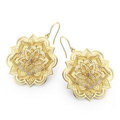 Diamantipertutti/Diamantipertutti耳坠,925银镀铑、镀18k金玫瑰金、镀18k黄金,镶嵌紫晶和0.048克拉钻石图片