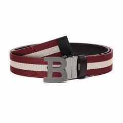 BALLY/巴利男士红米色条纹棕色织物配皮扳扣式双面皮带腰带BBUCKLE35MT22120cm图片