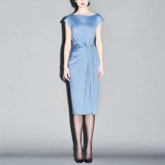 GEORGETTE.Q/GEORGETTE.Q咖啡色/雾霾蓝针织女士连衣裙图片