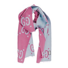 GUCCI/古驰 女士粉蓝配色双G logo羊毛围巾围脖 505395-3G020-5869