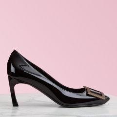 Roger Vivier/罗杰·维维亚女士高跟鞋 女鞋粉红色高跟鞋 中跟鞋Belle Vivier Trompette喇叭跟漆皮单鞋 婚鞋图片