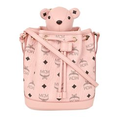 【包税】MCM女士经典logo印花可爱小熊抽绳水桶包单肩包斜挎包女包 MYZ8AXL47多色可选图片
