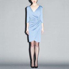 GEORGETTE.Q/GEORGETTE.Q雾霾蓝/咖啡色修身女士连衣裙图片