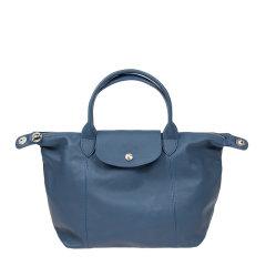 Longchamp/珑骧 Le Pliage Cuir系列 女士海军蓝色小羊皮小号短柄手提包单肩包斜挎包饺子包可折叠女包 1512737556图片