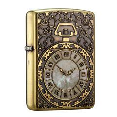 芝宝防风煤油打火机 双面雕刻古董怀表时钟 日版天然贝壳镶嵌怀表图片