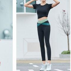 HATHA 哈他瑜伽服女初学者进化健身房运动套装夏薄款速干衣跑步瑜珈服 3件套(内衣+T恤+九分裤)图片