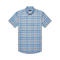 HAZZYS/哈吉斯 2019年春季新款男士短袖衬衫格子尖领扣领休闲衬衣ATCZK19BK55图片