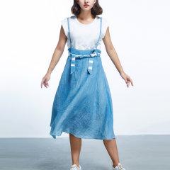 【XI ZHAO/戏照-旅行服饰系列】女士连衣裙  手工草木染褶皱肌理亚麻夏季扇形背带连衣裙图片