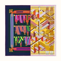 【礼盒装 90cm 】HERMES/爱马仕  微瑕 拼接图案真丝方形女士丝巾# H003338S 24图片