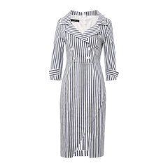 【DesignerWomenwear】PESARO/PESARO成熟气质双排扣竖纹女士连衣裙图片