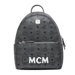 【包税】MCM 男女同款黑色中性logo印花背包旅行包双肩背包 MMK8AVE83BK图片