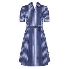 【商场同款】HAZZYS/哈吉斯 春夏款条纹修身高腰女士连衣裙翻领短袖裙子AQWSC09BC20图片