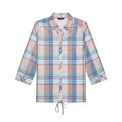 HAZZYS/哈吉斯 2019年春夏新款大格子修身女士短袖衬衫五分袖衬衫英伦风ASCSK19BK25图片