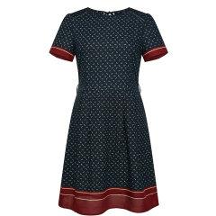 【商场同款】HAZZYS/哈吉斯 2019年夏季新款女装修身短袖撞色女士连衣裙AQWSC09BC13图片
