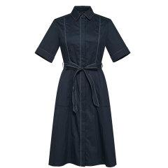 HAZZYS/哈吉斯 2019年春夏新款女装修身高腰系带短袖女士连衣裙衬衫裙AQWSC09BC14图片