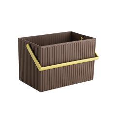 日本进口橡胶桌面收纳盒 叠加收纳篮    利快Omnioutil带提手方形波浪杂物收纳筐化妆品收纳箱图片