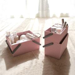 日本进口化妆品收纳盒  橡胶桌面收纳箱     利快Omnioutil带提手方形波浪杂物收纳筐叠加收纳篮图片