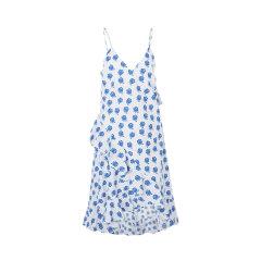 【19春夏】KENZO/高田贤三白/蓝色织物花朵装饰纯棉材质吊带女士连衣裙玫瑰图片