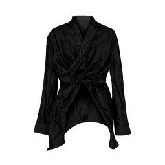TRACY CHU/TRACY CHU朱熙越设计师原创设计19年春夏黑色,灰色立体裁剪不对称衬衫女士长袖衬衫图片