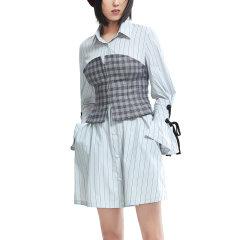 PORTSPURE/PORTSPURE2018秋季新款女格子裹胸条纹时尚前卫衬衫裙女士连衣裙RA9D009GFD008图片