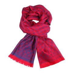 GUCCI/古驰 流苏双G提花拼色羊毛围巾#411115 3G200 5174