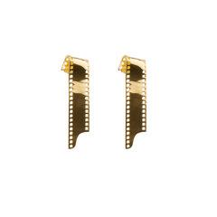 RAINKA WANG/RAINKA WANG设计师品牌原创925银镀金电影胶片长耳环单只图片