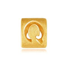 MINGR/明牌珠宝 黄金串珠 3D硬金足金26个英文字母DIY转运珠 AFP0240-S (单笔订单购买两个字母以上赠送皮绳)图片